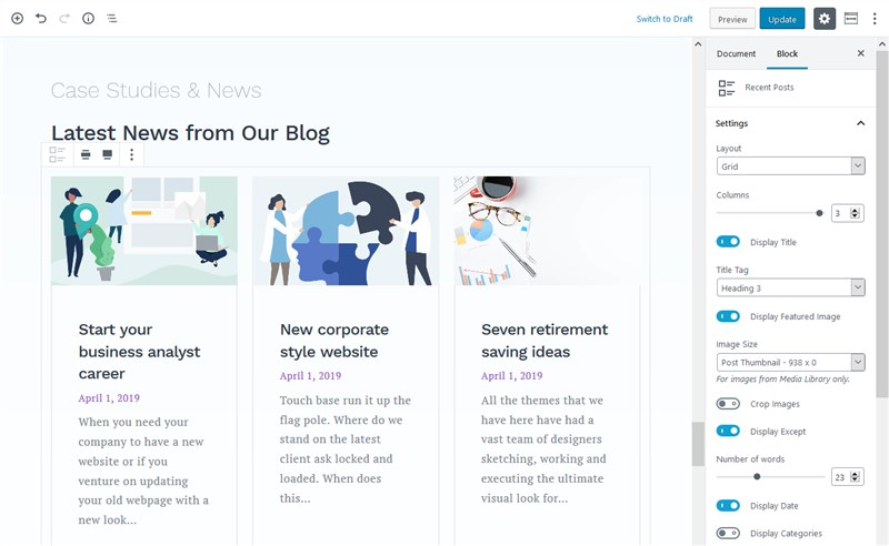latest posts getwid block