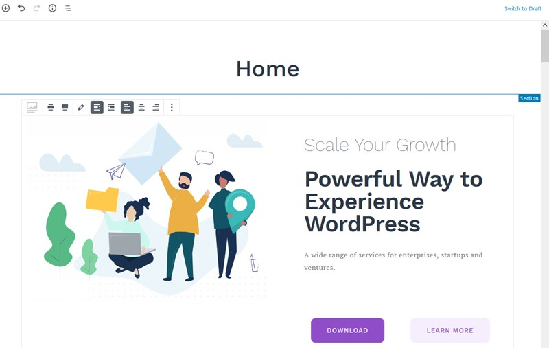 gutenberg free wordpress themesection home page