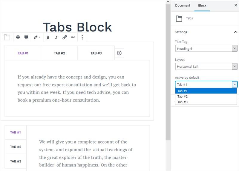 tabs block getwid