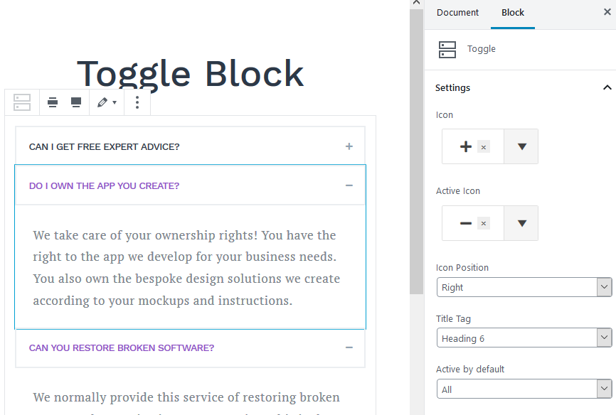 toggle block featured
