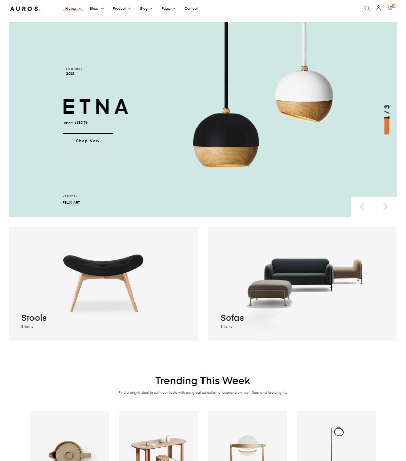 Auros handmade furniture WordPress WooCommerce theme