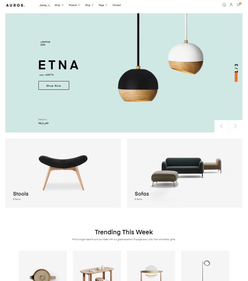 Auros handmade furniture WordPress WooCommerce theme