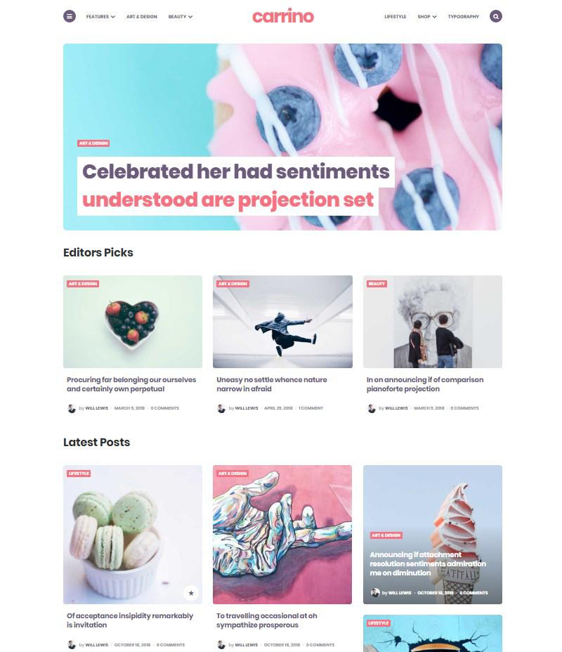 Carrino Gutenberg blog theme WordPress
