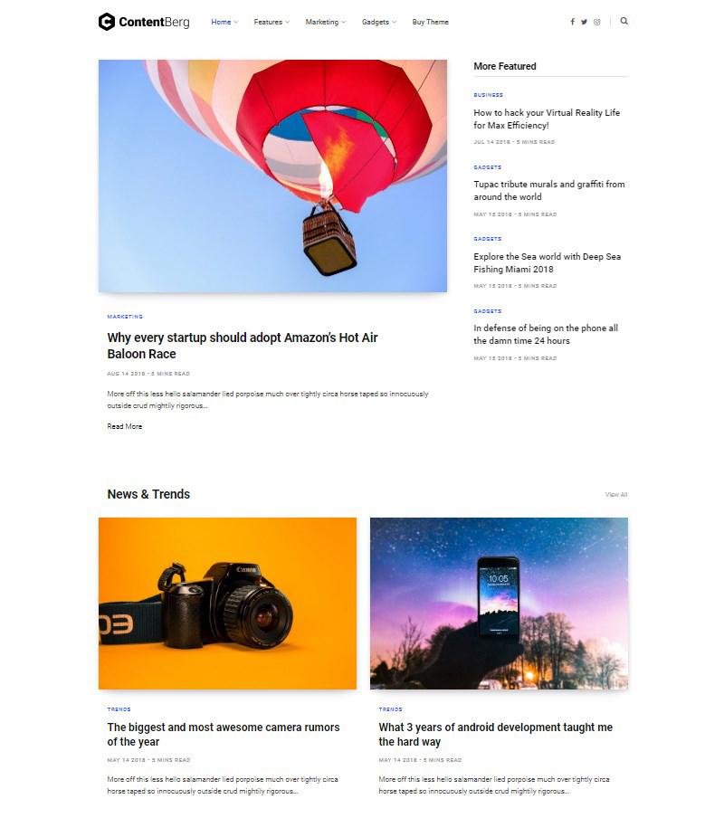 Contentberg Blog Content Marketing Blog WordPress theme