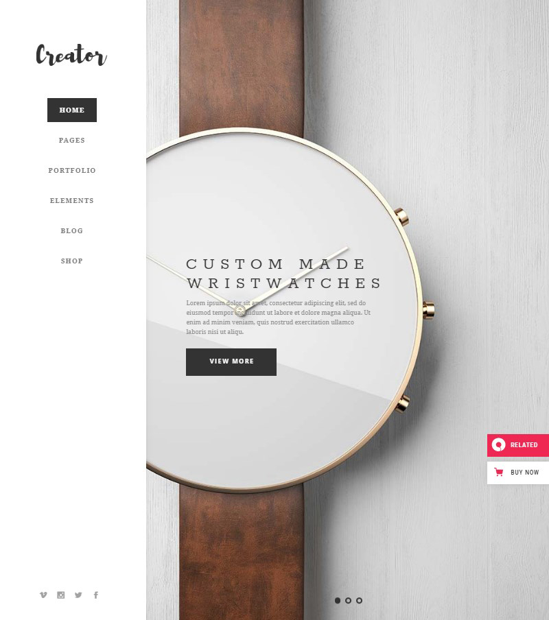 Creator WordPress theme for handmade artisans