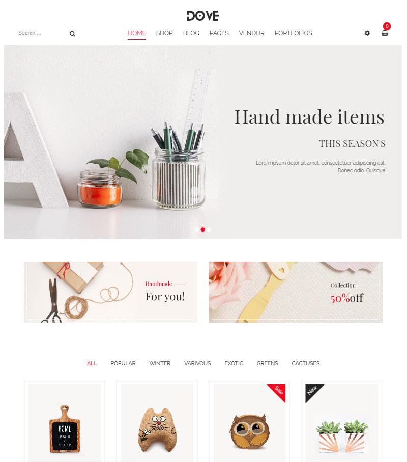 Dove handicraft WordPress WooCommerce theme