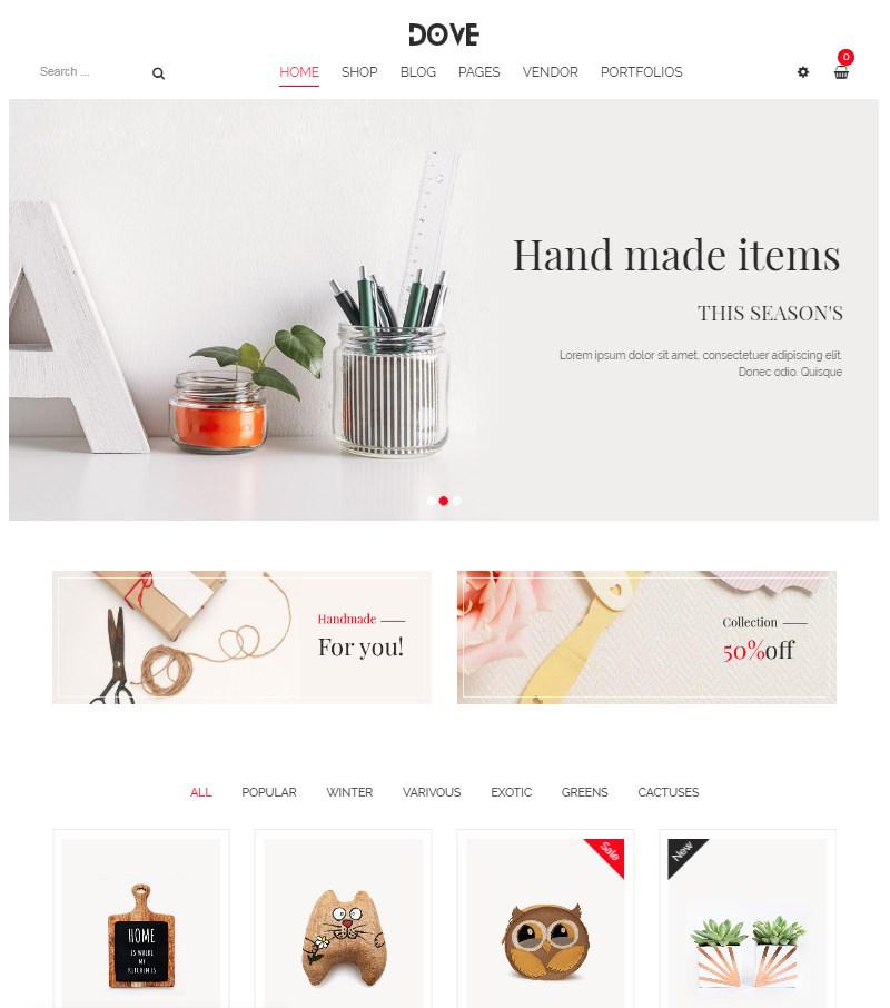 Dove handicraft WordPress WooCommerce theme