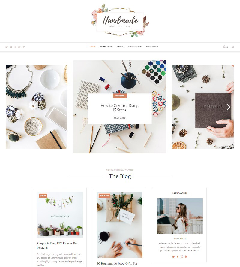 Handmade Shop WordPress handmade blog theme