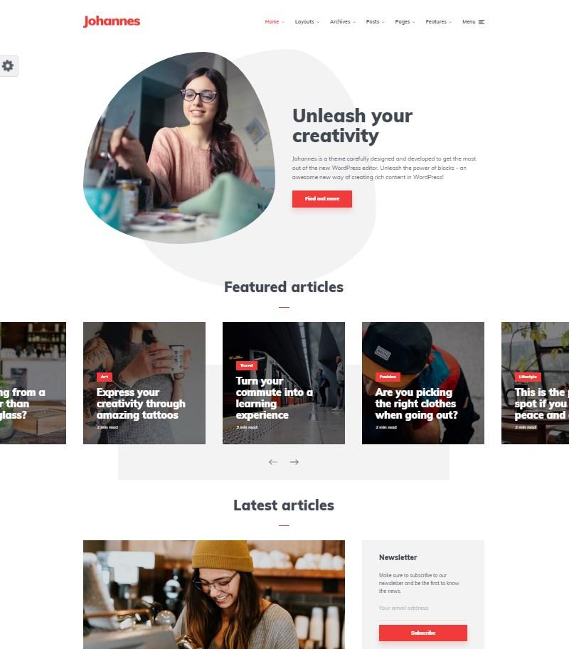 Johannes blog and magazine WordPress theme