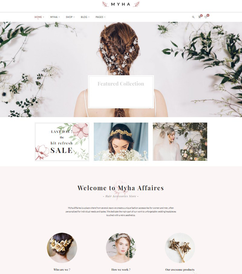 Myha WordPress theme for handmade jewelry
