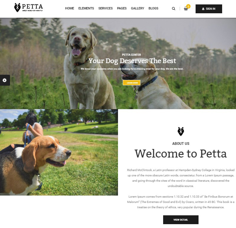 Petta premium pet care WordPress theme