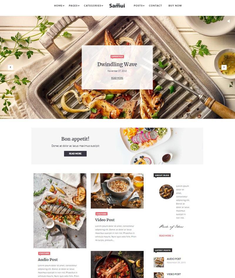 Samui Gutenberg WordPress theme for magazine and blog