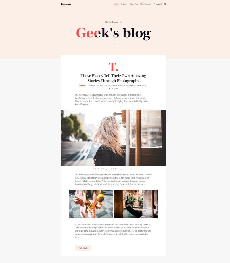 Typograph Gutenberg WordPress blog theme