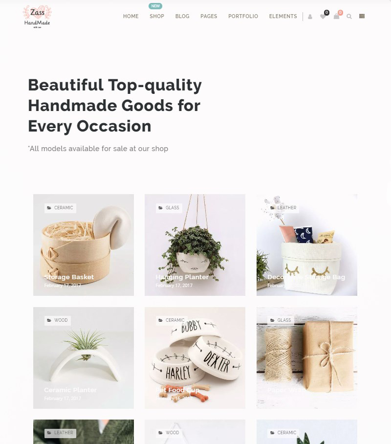 Zass WordPress theme for handmade and crafts
