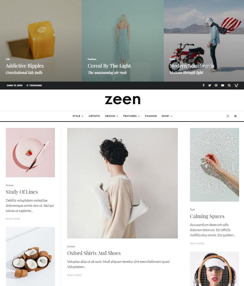 Zeen magazine Gutenberg theme