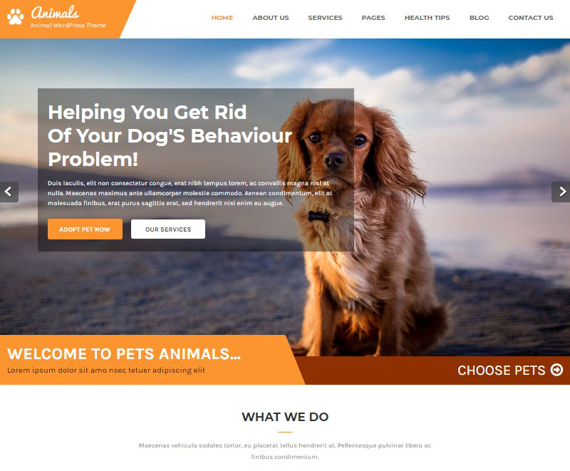 Animals pet shop pet care WordPress theme