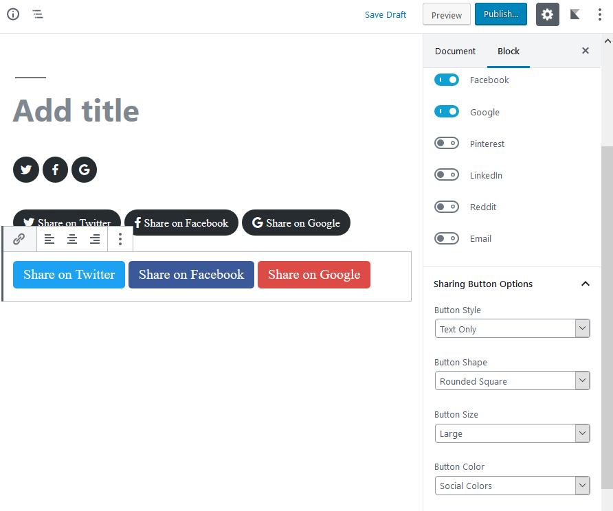 gutenberg blocks plugins social share buttons