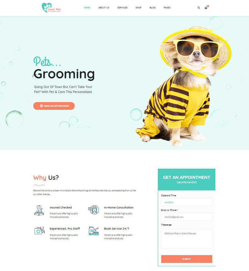 LovePet veterinary WooCommerce WordPress pet theme