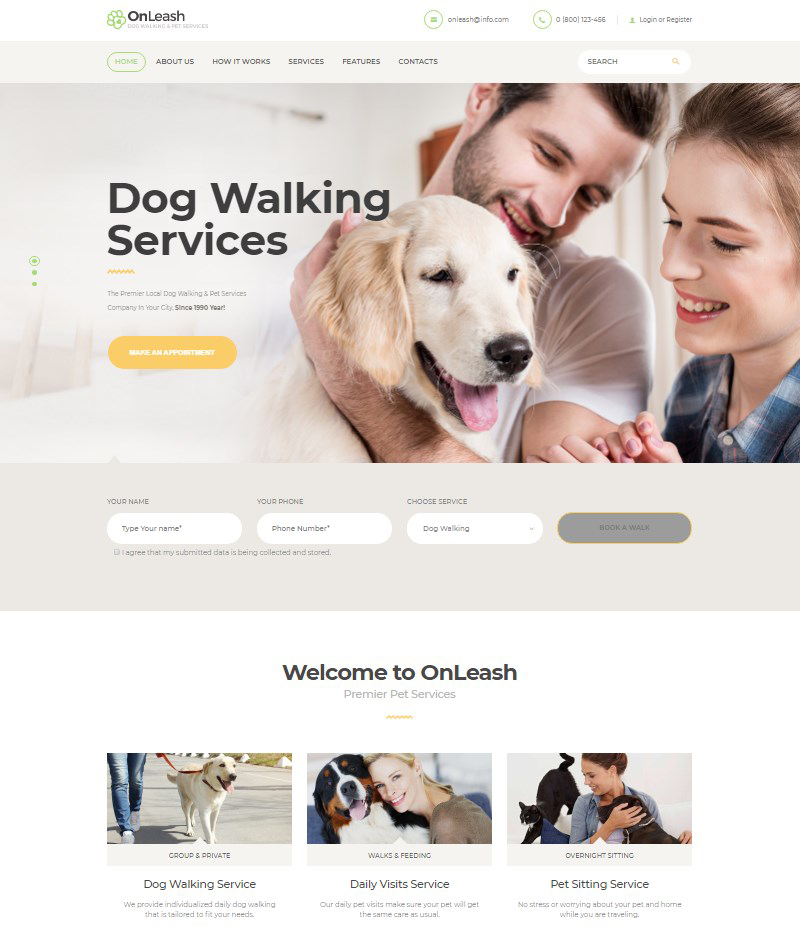 OnLeash dog walking WordPress theme