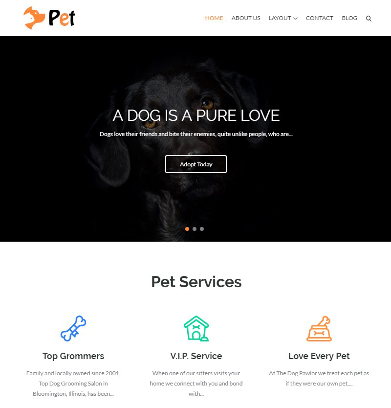 animals and pets WordPress theme