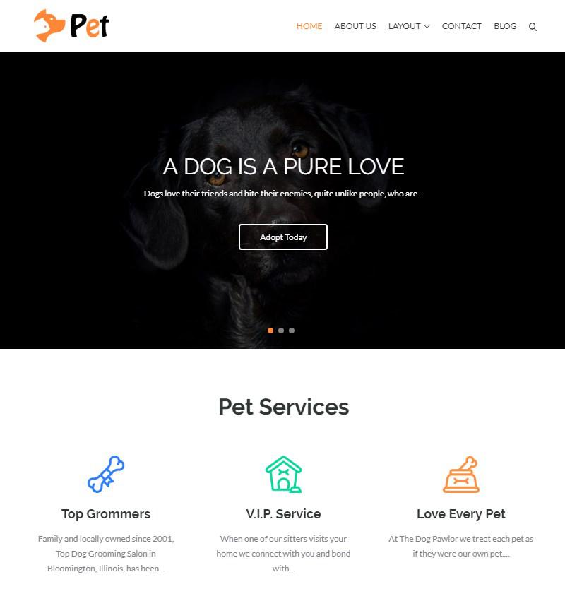 animals and pets WordPress theme