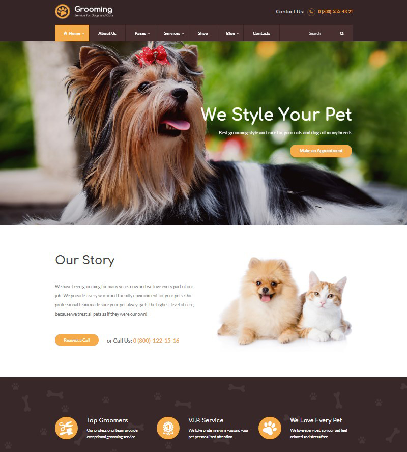 Pet Grooming pet salon WordPress theme