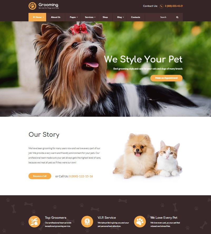 Pet Grooming pet salon WordPress theme