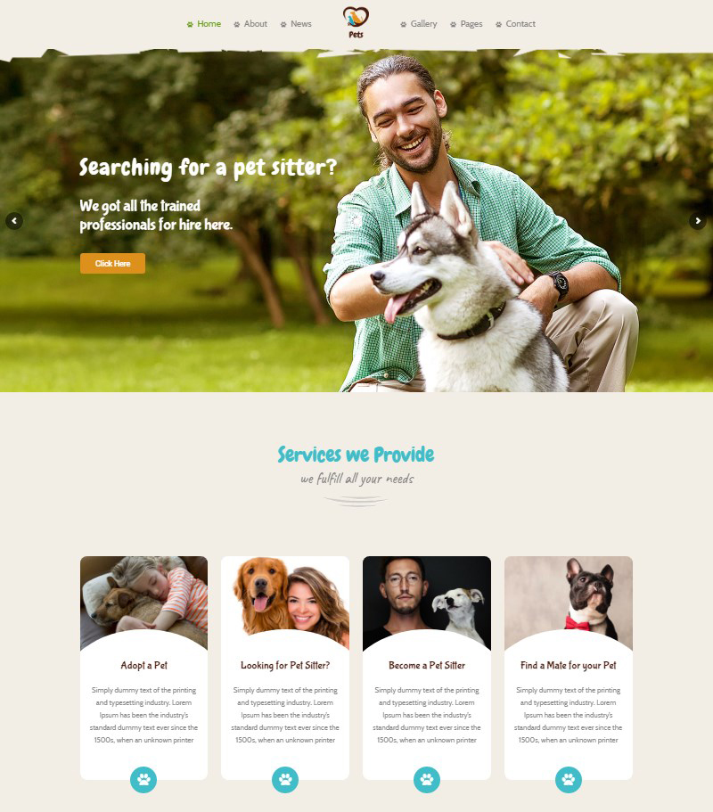 Pet World pet sitting WordPress theme