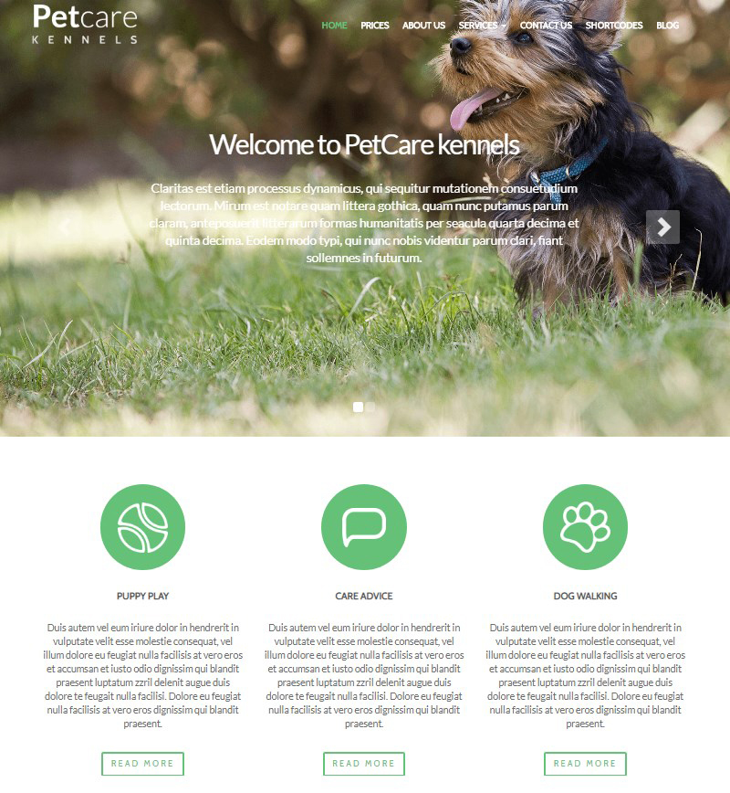 WordPress dog boarding theme