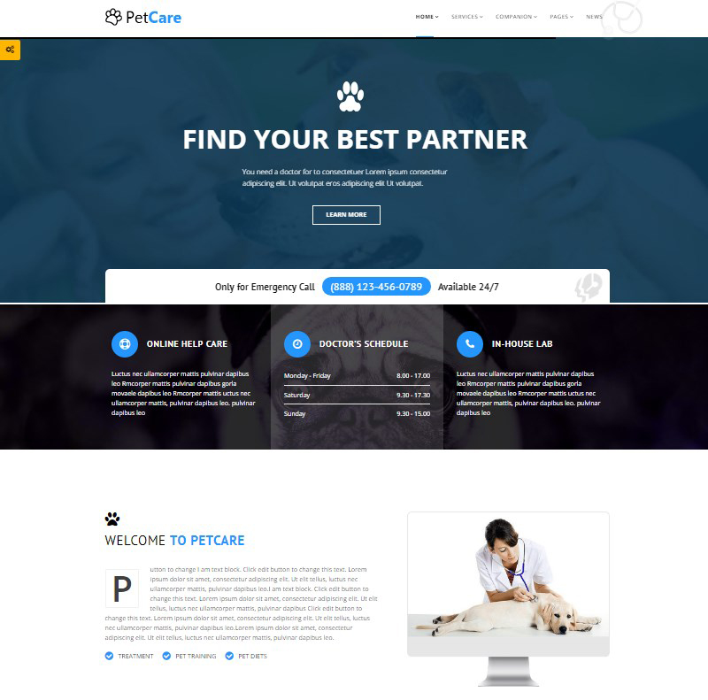 Pet Care pet healthcare services WordPress theme