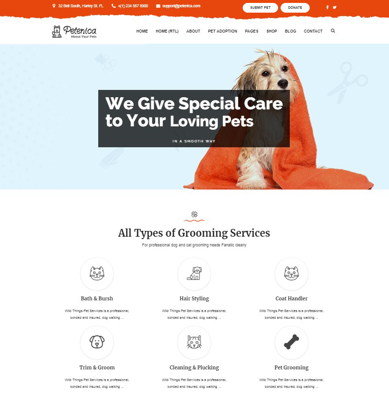 Petenica pet sitter pet adoption WordPress theme