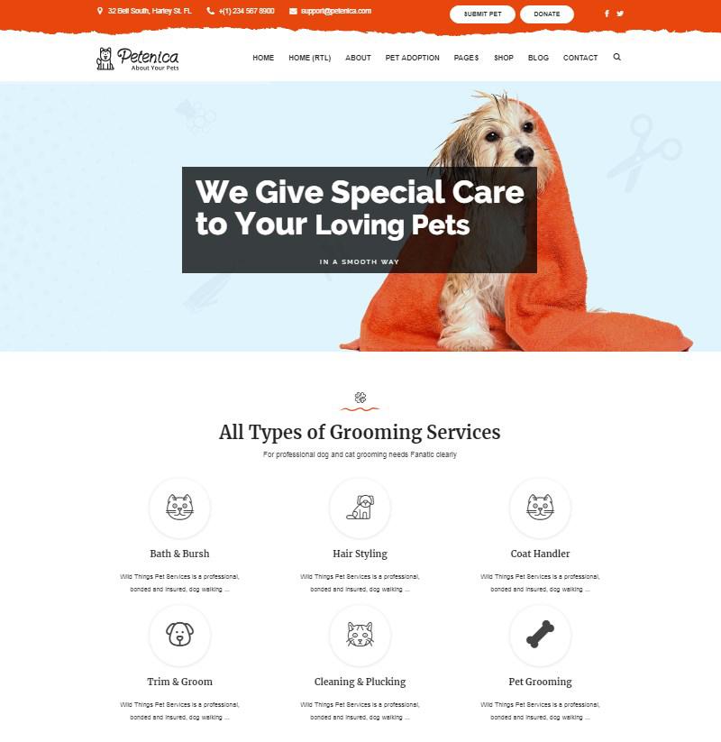 Petenica pet sitter pet adoption WordPress theme