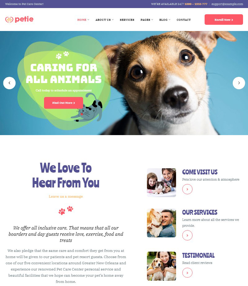 Petie dog training WordPress theme