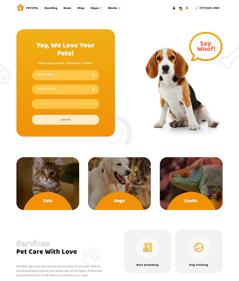Petotel pet sitting website template