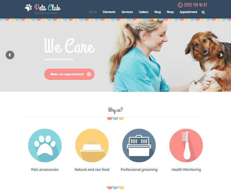 Pets Club pet care pet shop and veterinary WordPress theme