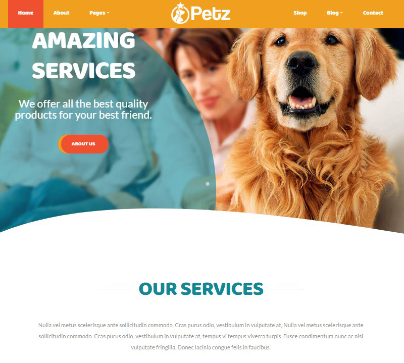Petz veterinary clinic pet caretakers WordPress theme