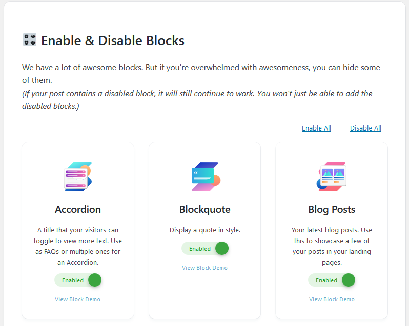 stackable enable disable blocks