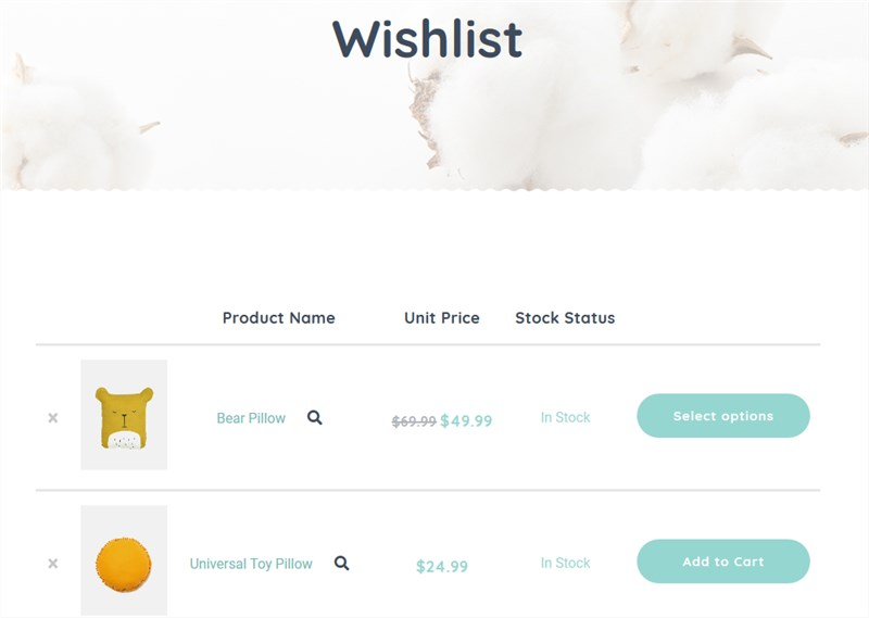 Handmade WordPress Theme wishlist browsed