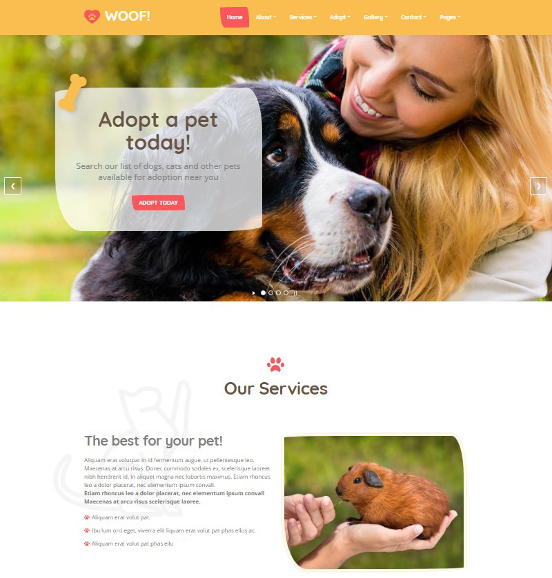 Woof WordPress theme for pet businesses