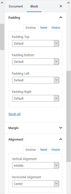Section Gutenberg Block allignment settings