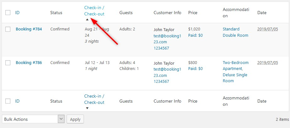 filter bookings check in check out