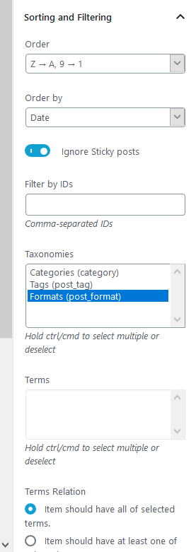 filtering options slider