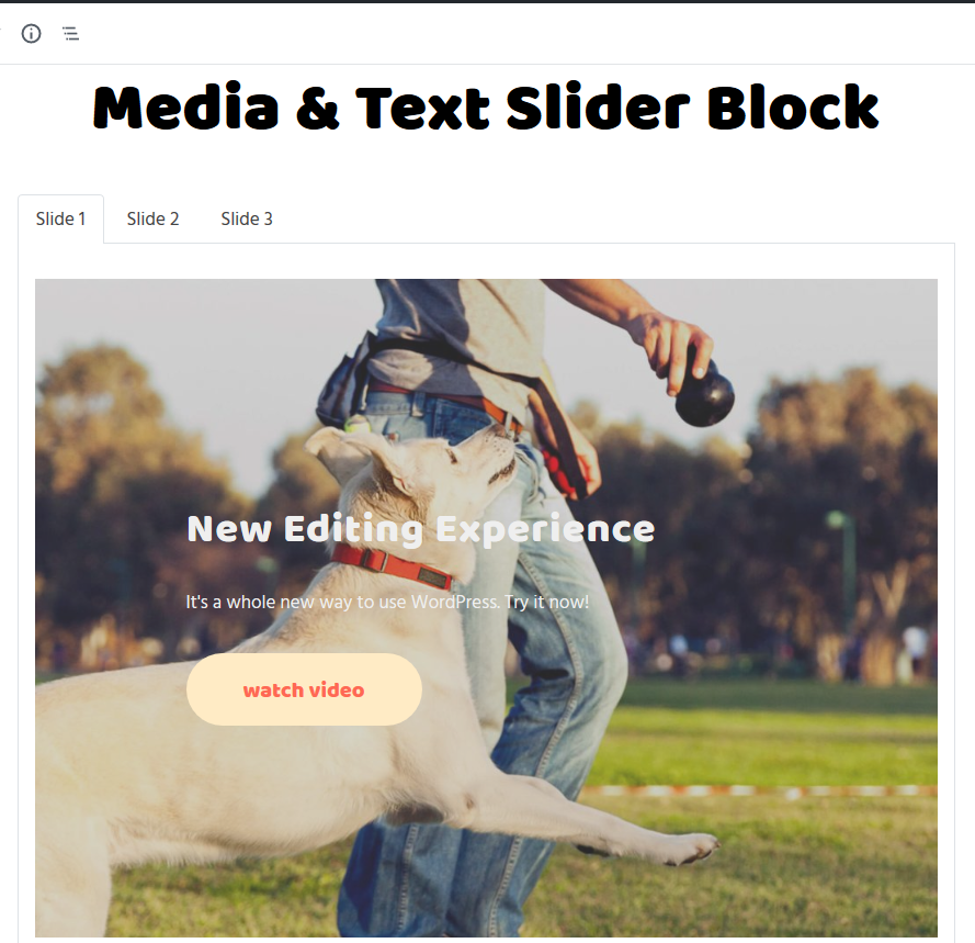 media and text slider gutenberg