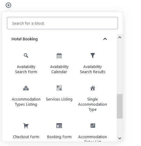 hotel booking gutenberg blocks