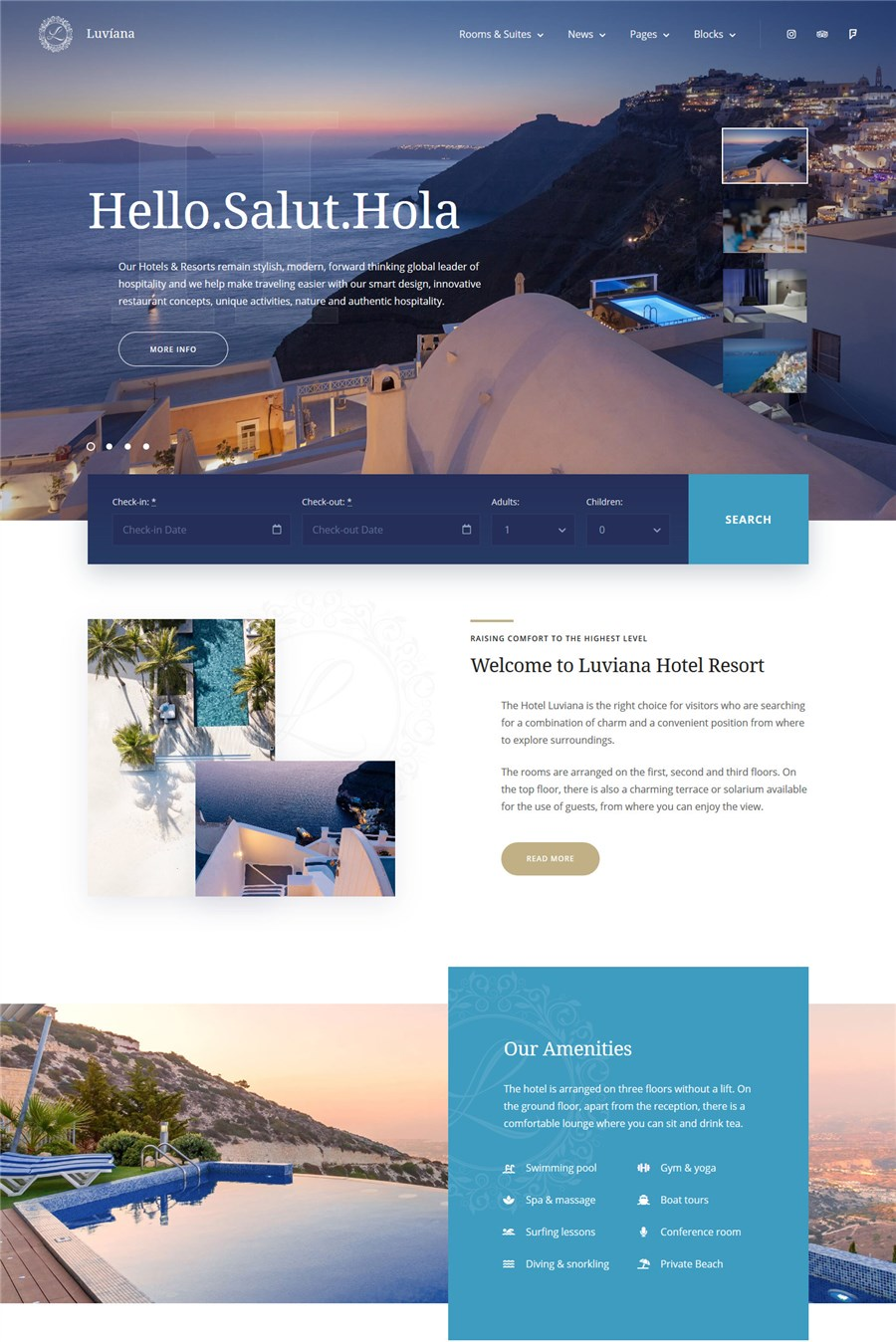 luviana hotel booking template website wordpress