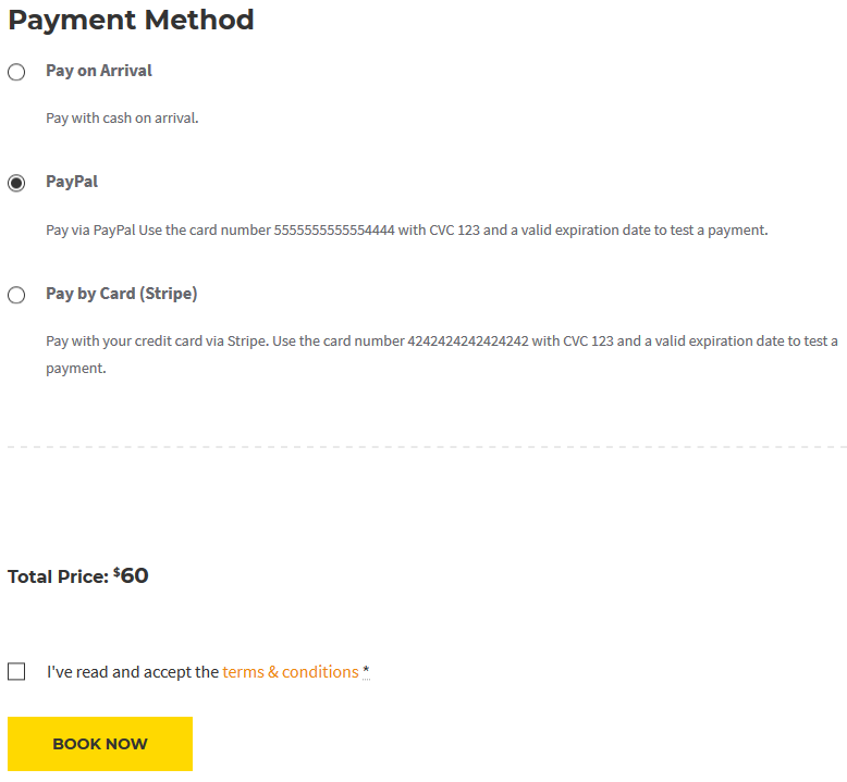 payment method checkout