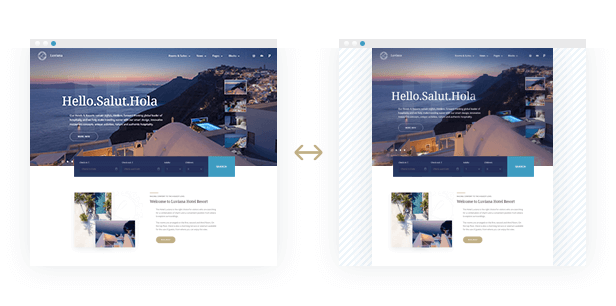two layouts luviana hotel booking template