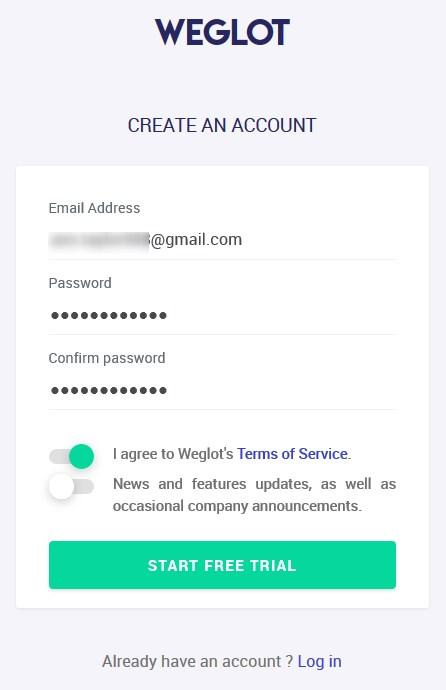 weglot website translator create an account