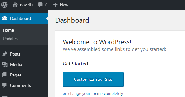 small business website wordpressdashboard