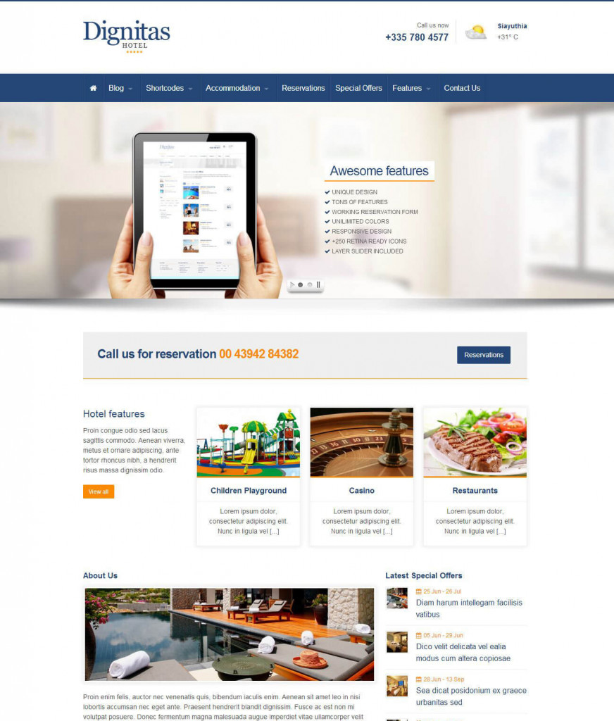 Dignitas WordPress hotel themes